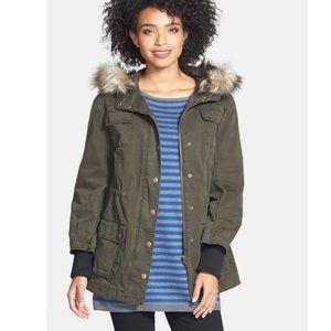 Halogen Faux Fur Trim Hooded Jacket, Olive, Small